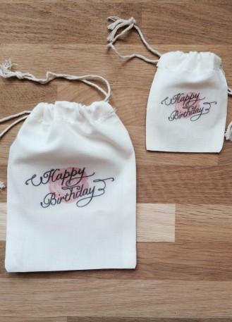 Pochon, sac en coton bon anniversaire pour emballage cadeau bijoux