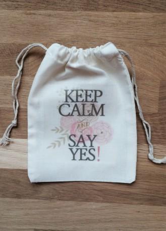 Pochon, sac en coton Keep Calm pour emballage cadeau bijoux