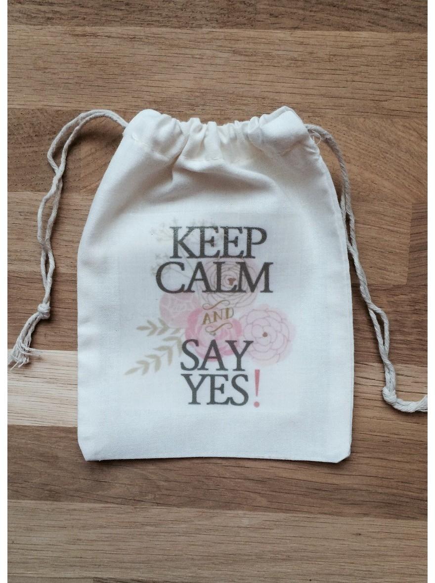 Extrêmement Pochon, sac en coton Keep Calm pour emballage cadeau bijoux - So Hélo IN81