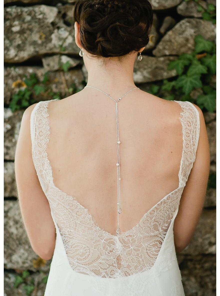 """Exceptionnel Nina"""" Collier de mariée avec long bijou robe dos nu - So Hélo CK04"""