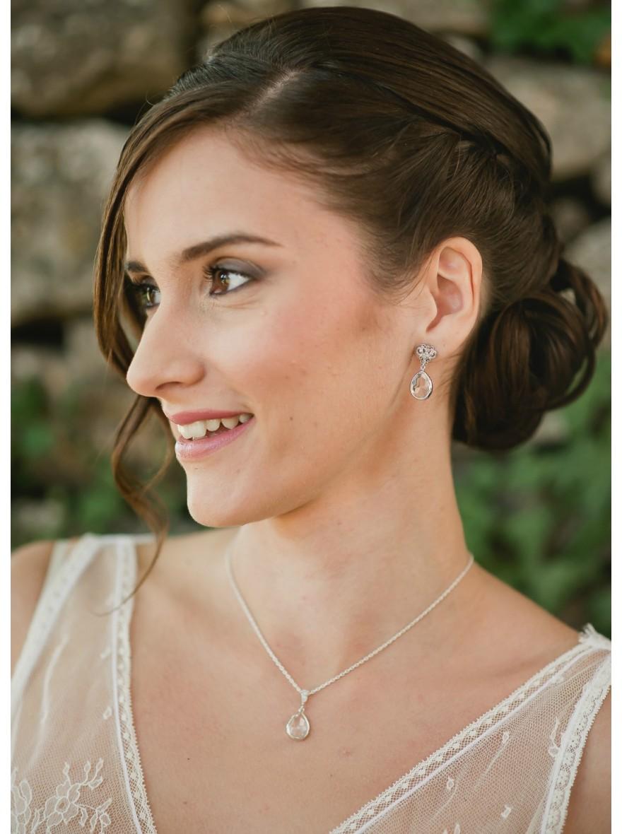 "Préférence Nina"" Collier de mariée avec long bijou robe dos nu - So Hélo SX77"