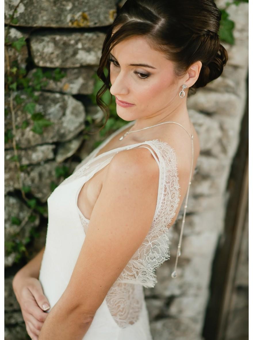 "Assez Nina"" Collier de mariée avec long bijou robe dos nu - So Hélo QZ18"