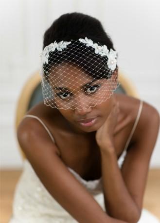 """""""Satine"""" Voilette de mariée rétro, birdcage avec dentelle brodée"""