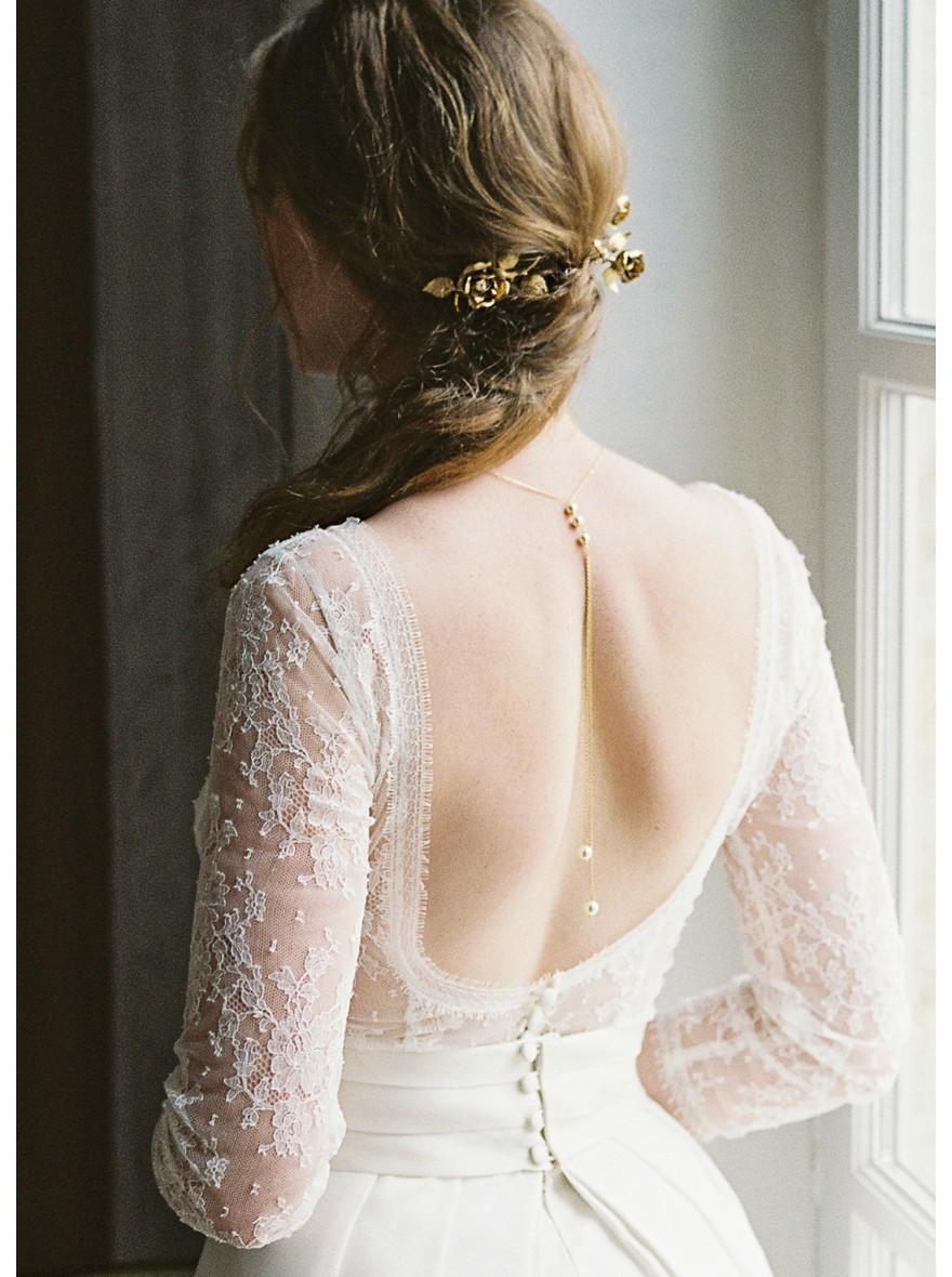 """Assez Emilia"""" Collier de mariée perlé avec bijou robe dos nu - So Hélo YU83"""