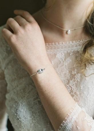 """Bracelet mariage """"Laura"""" avec motif strassé rétro"""