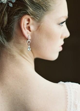 """Boucles d'oreilles mariée """"Elyne"""" avec pendants en cristal"""