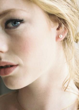 """Boucles d'oreilles mariée """"Perle"""" simple clou"""