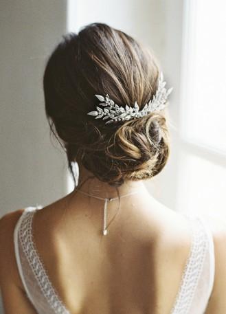 """Peigne de mariée """"Louison"""" avec estampes végétales et cristaux"""