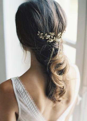 """Peigne de mariée """"amelia"""" avec feuillages, cristaux et perles"""