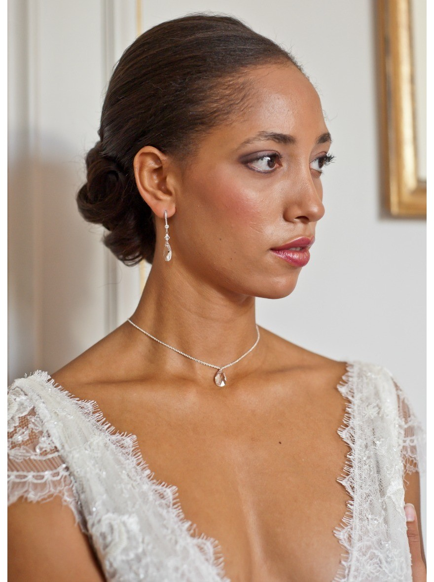 "Super Louna"" Collier de mariée avec long bijou robe dos nu - So Hélo ZR35"