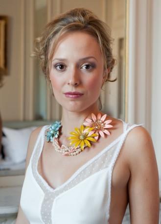 """""""Patricia"""" Collier de mariée rétro avec perles et broches fleurs vintage"""