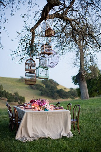décoration mariage suspensions cages d'oiseaux