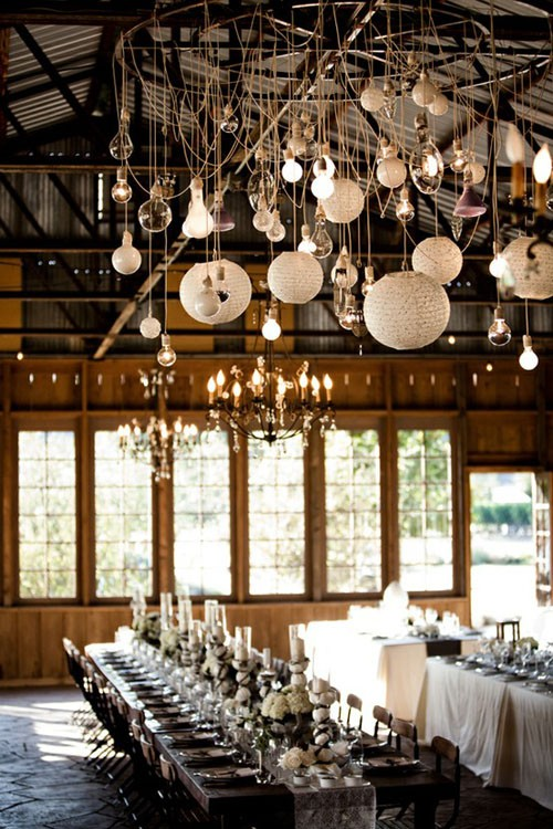 décoration mariage suspension et ampoules