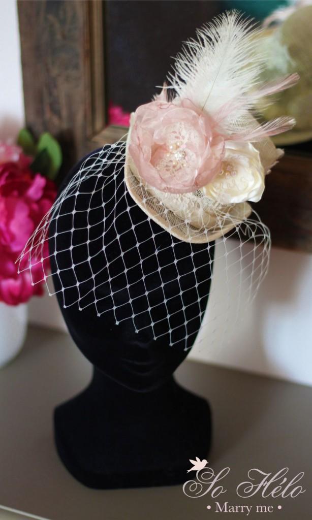 Chapeau de cérémonie ou mariage rétro avec voilette et dentelle