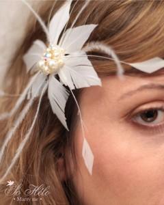 accessoire cheveux rétro constellation avec plumes perles et cristaux