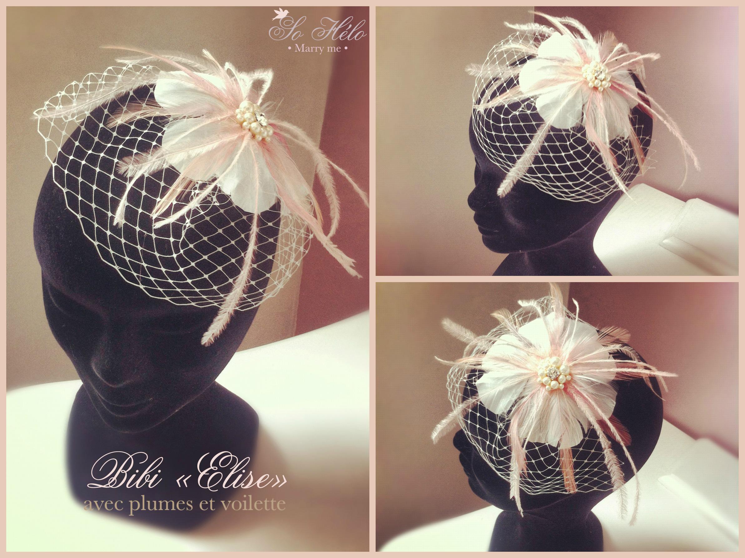 bibi fascinator marie elise avec plumes et voilette - Bibi Mariage Voilette