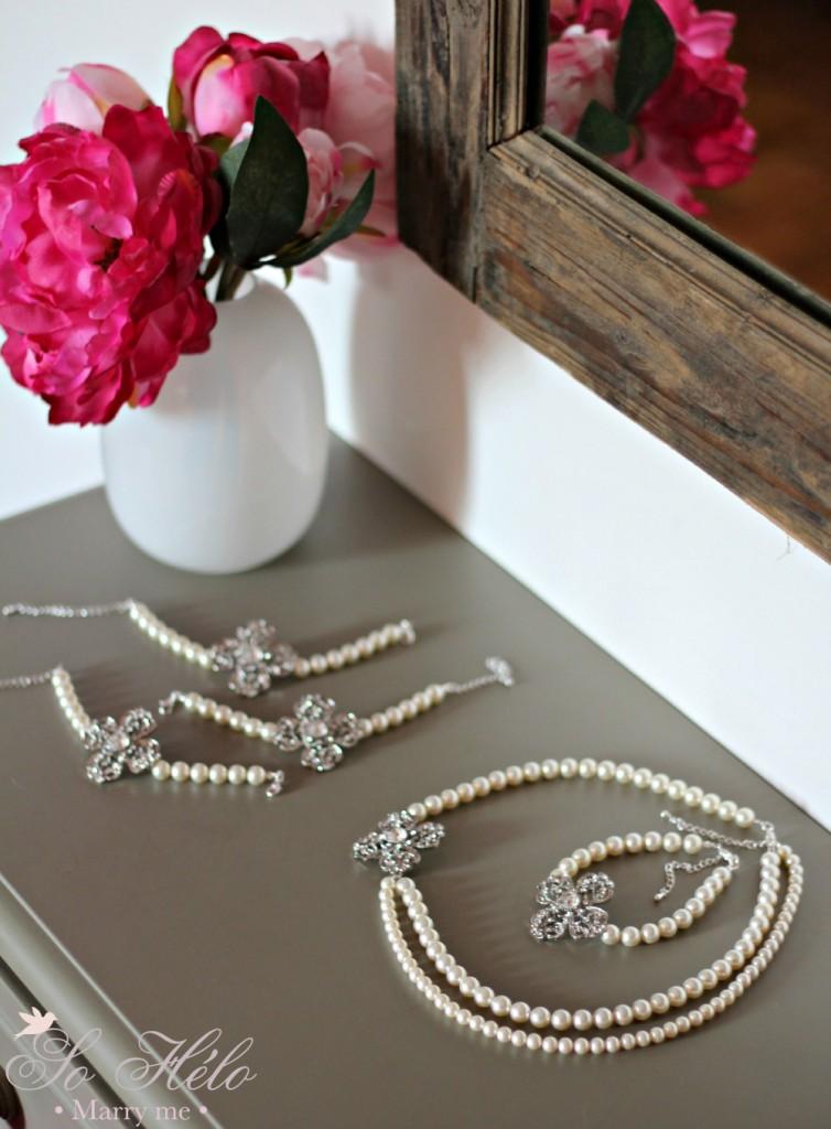 collier mariée perle et bracelets témoins