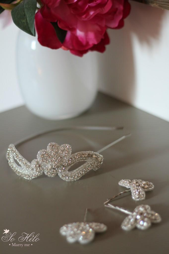 headband cristal mariée et barrettes témoins assorties