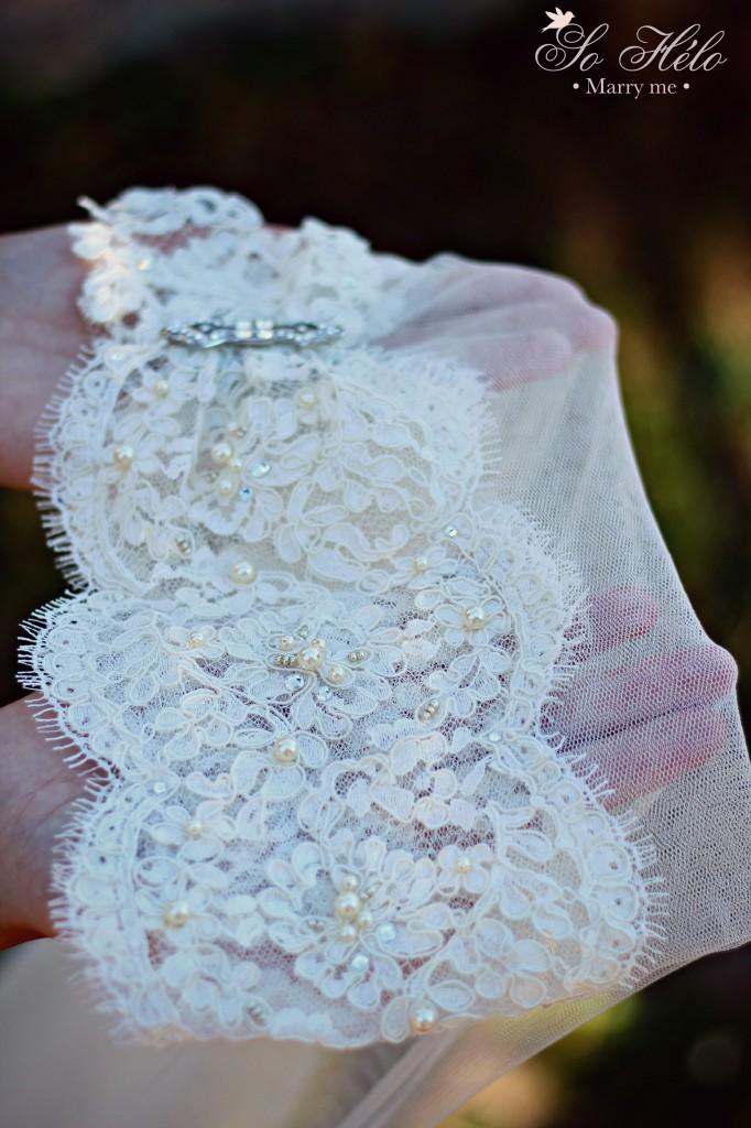 voile de mariée esprit rétro bohème en dentelle brodée et tulle de soie