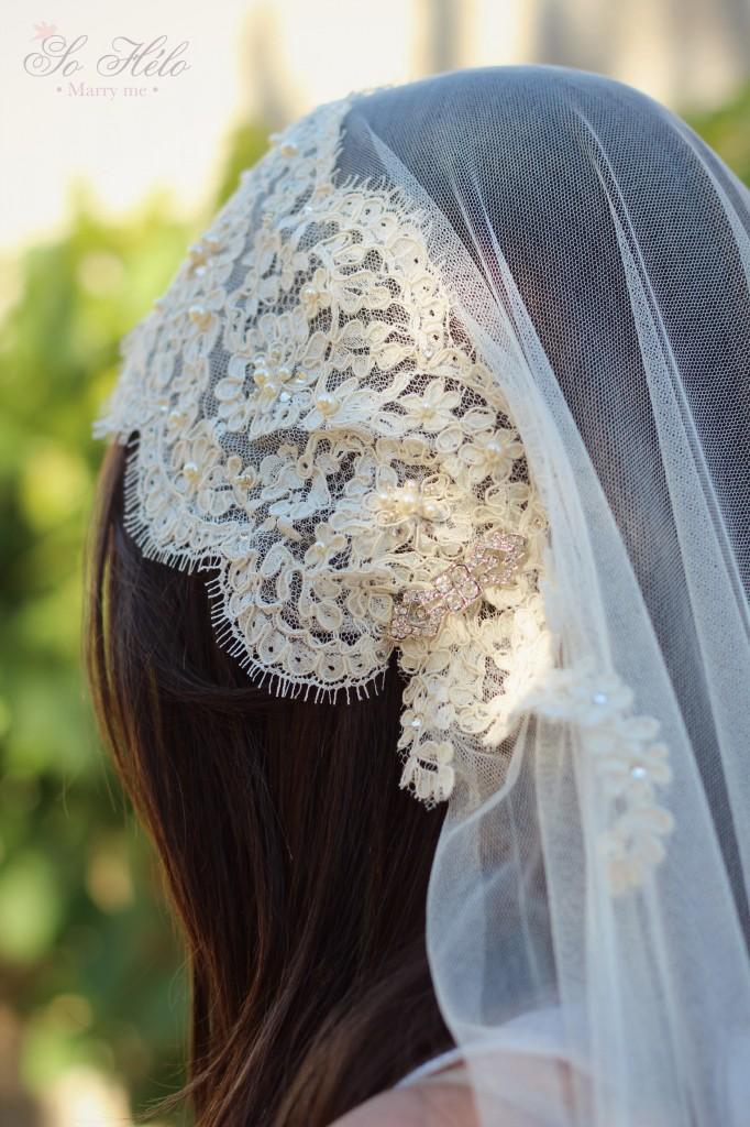 détails voile mariée rétro bandeau avec dentelle de calais