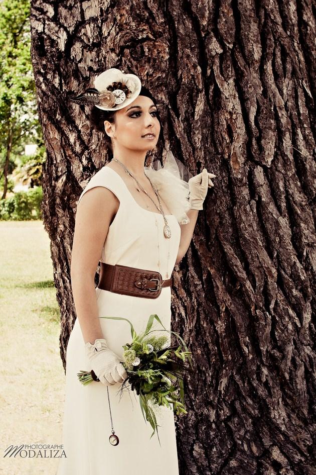 chapeau et accessoire mariage steampunk avec plumes de faisan