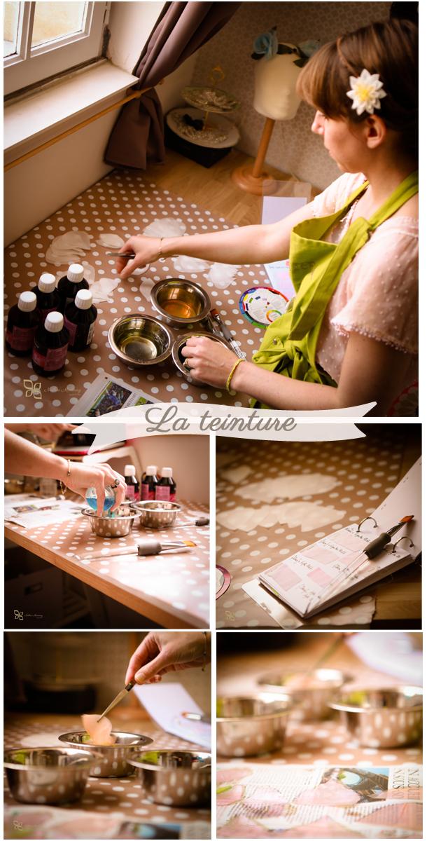 Confection fleurs de soie pour accessoires de mariage