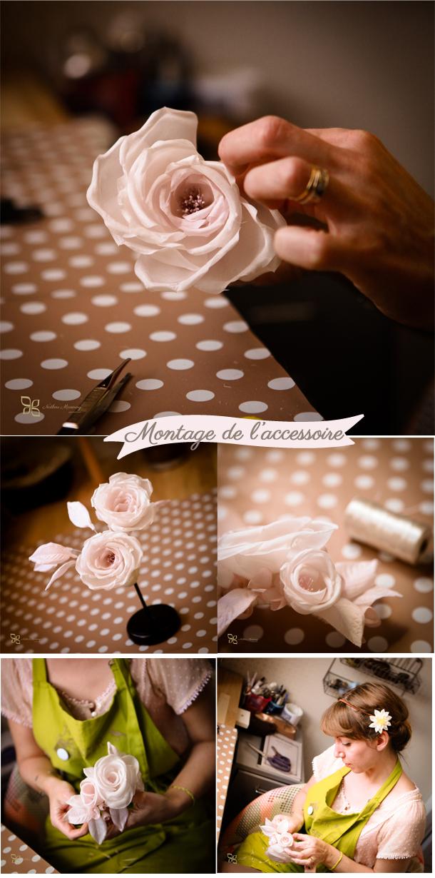 montage accessoire mariage fleur de soie