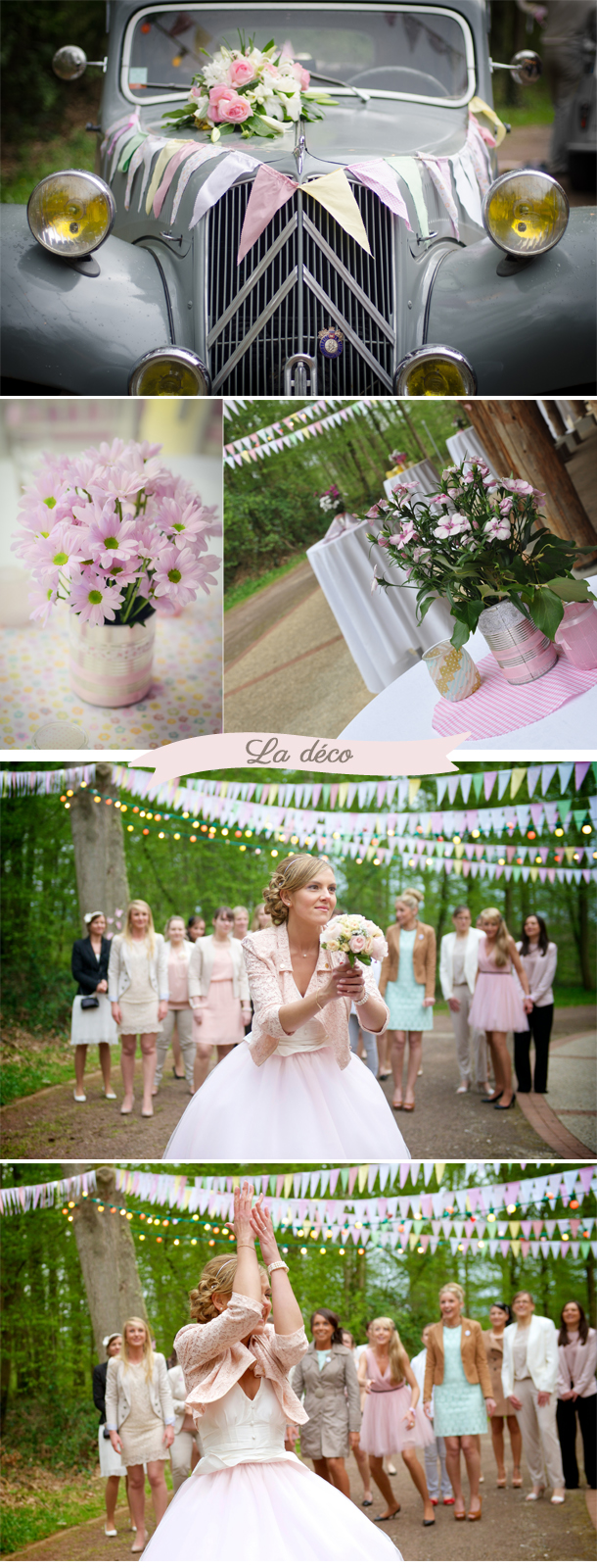 Déco mariage rétro fanions pastels