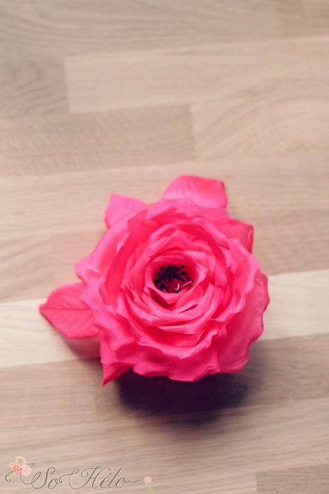 rose en soie fushia faite main mariage