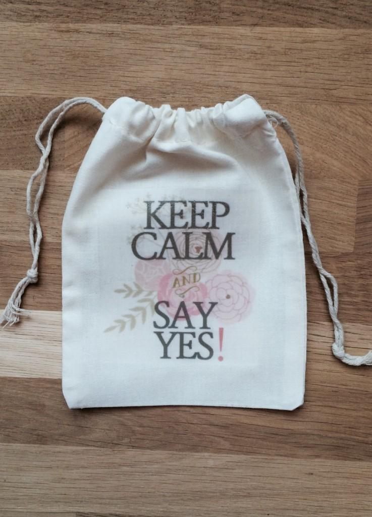 sac coton cadeau témoin keep Calm and say yes