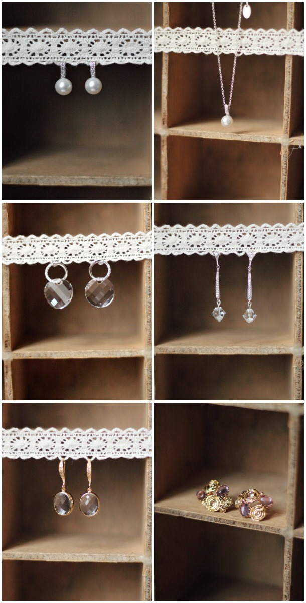 boucles d'oreilles et pendentif discret mariage
