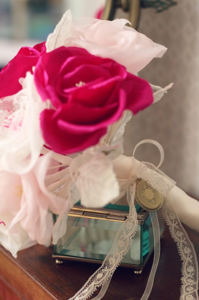 pendentif à ouvrir souvenir manche bouquet de mariée éternelle soie