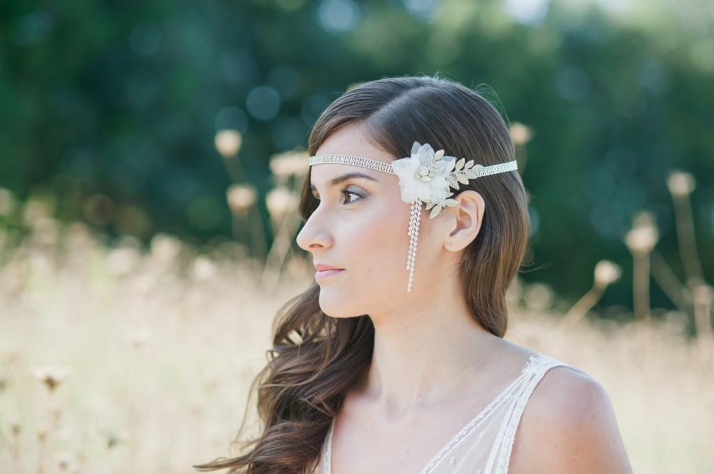 Headband mariée gatsby rétro fleur soie So Hélo photographie Cécile Creiche