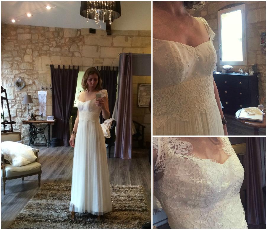 Essayage robe de mariée sur mesure dentelle Confidentiel Création St Emilion modèle Eugénie