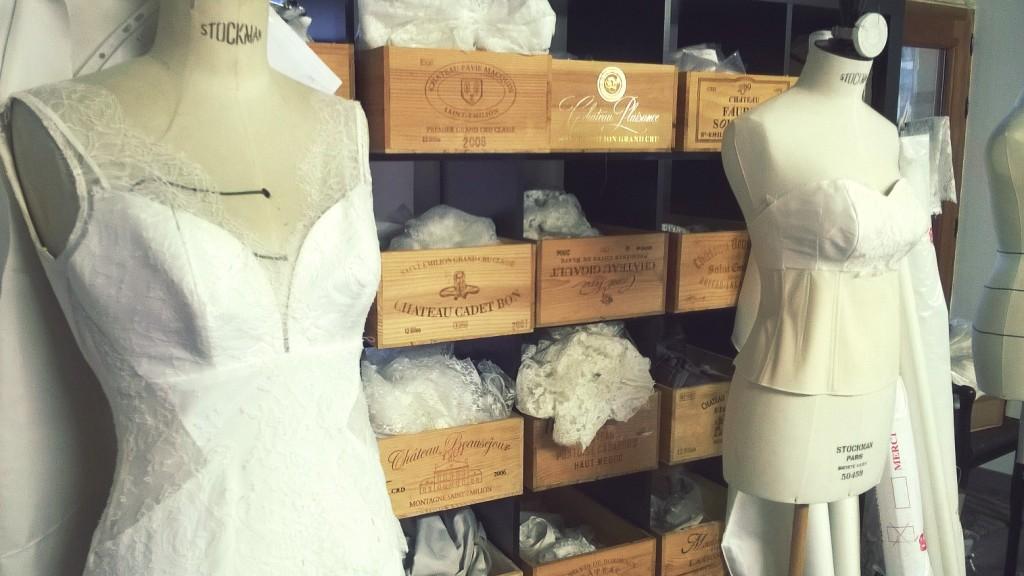 atelier confection robes de mariée aquitaine Confidentiel Création dentelle de calais et soie