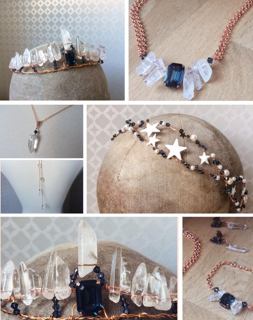 création accessoires et bijoux personnalisés mariage thème minéral étoiles constellation