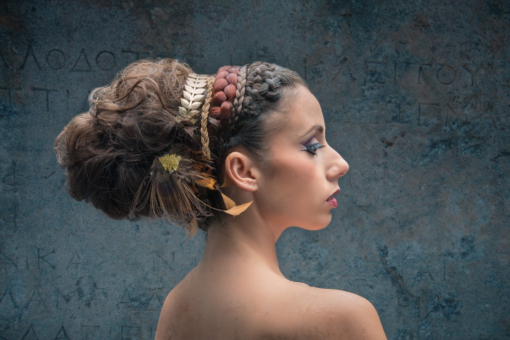 Axelle B. collection haute coiffure 2015 ornement plumes paon et chevrons