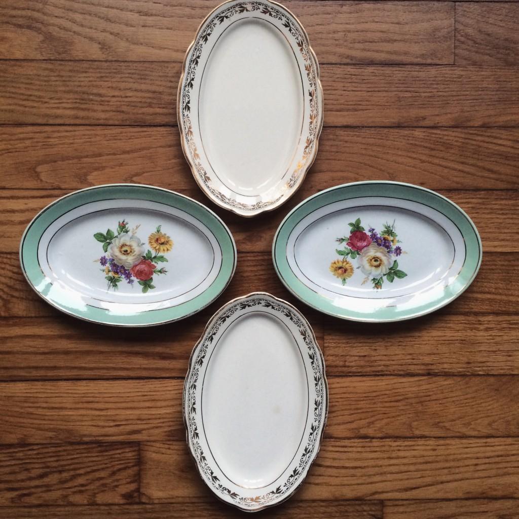 petits plats vaisselles vintage porcelaine dorure et fleurs mariage