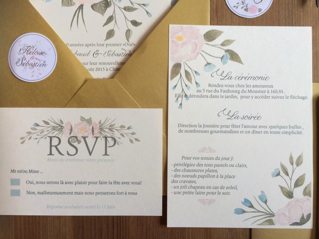 carton réponse et détails journée invitation mariage