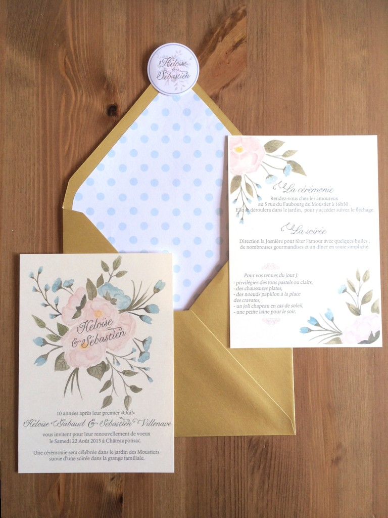 détails enveloppe faire part invitation mariage rustique vintage champêtre aquarelle fleurs