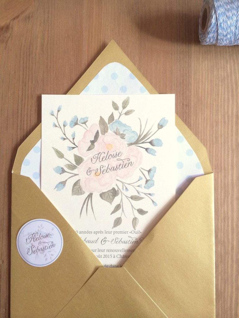 détails invitation bouquet fleurs mariage en aquarelle