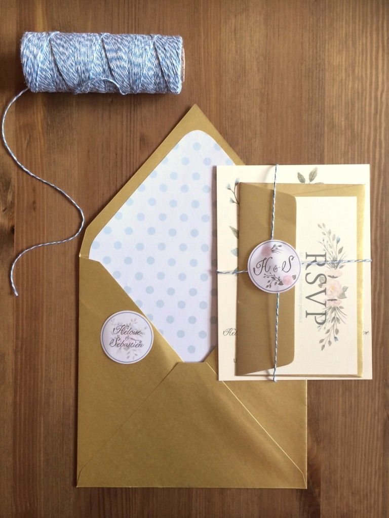 ensemble faire-part invitation mariage champêtre rustique vintage pastel