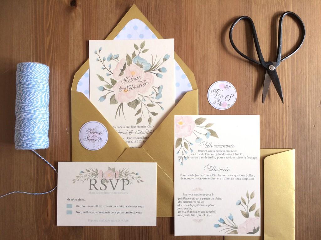 ensemble papeterie invitation mariage rustique champêtre avec fleurs aquarelle