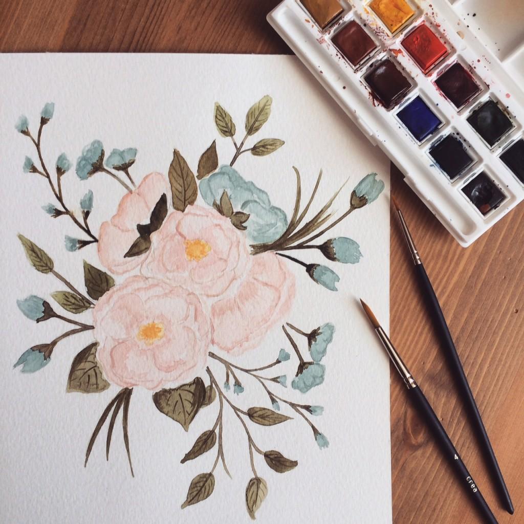 réalisation aquarelle bouquet fleurs pour faire-part Mariage So Hélo