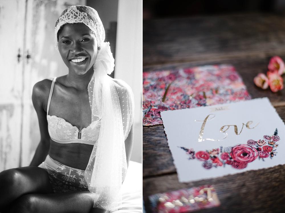 Séance boudoir mariée voile plumetis et faire-part mariage appartement parisien -Photos Emeline Hamon- voile So Hélo