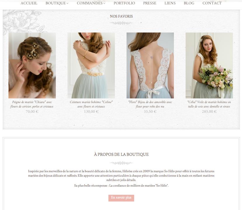boutique So Hélo bijoux et accessoires mariage