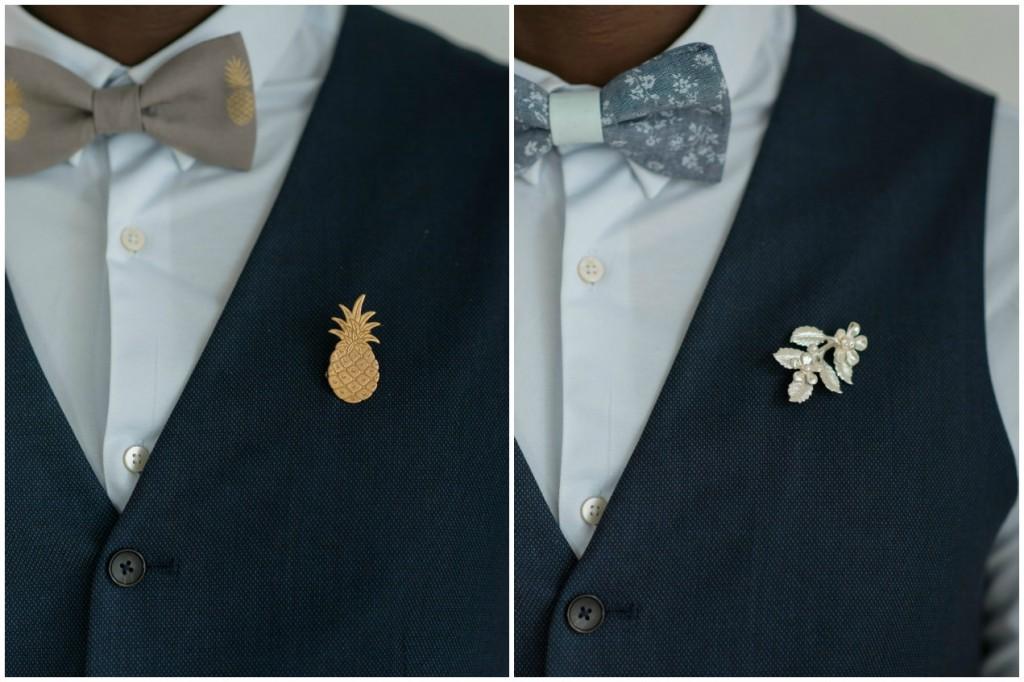 Noeuds papillons homme marié original boutonnière bijou ananas