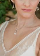 """""""Amendine"""" collier de mariée avec pendentif goutte cristal"""
