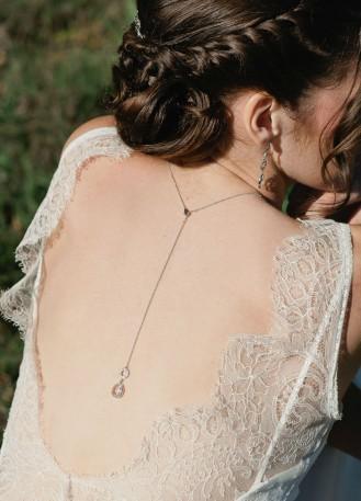 """Bijou de dos """"Maryline"""" pour votre collier de mariée"""
