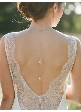 """Bijou de dos """"Garance"""" pour votre collier de mariée"""